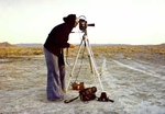 Nancy Holt shooting the film Sun Tunnels, 1976. Photograph by Lee Deffebach (Courtesy The Papers of Nancy Holt, Galisteo, New Mexico)